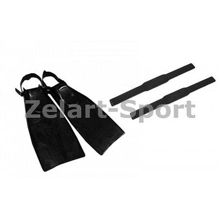 Ласты с открытой пяткой Турист (запасной ремешок- резинка, 1шт.) UR PL-3790-Z (резина, черный)