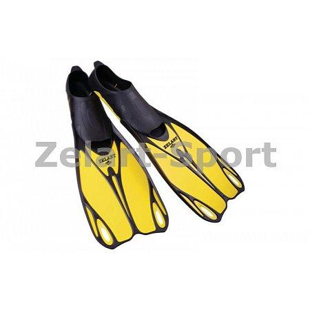 Ласты с закрытой пяткой (калоша цельная) 436 ZEL ZP-436-XL (р-р XL-44-45, жёлтый, синий, серый)