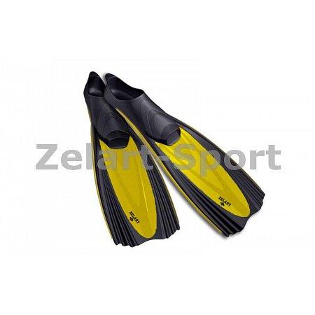 Ласты с закрытой пяткой (калоша цельная) 439 ZEL ZP-439-ML (р-р ML-40-41, жёлтый, синий, серебро)