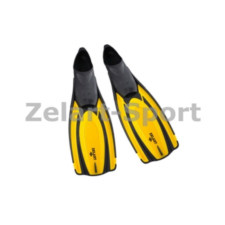 Ласты с закрытой пяткой (калоша цельная) 443 ZEL ZP-443-XL (р-р XL-44-45, серый, синий, желтый)