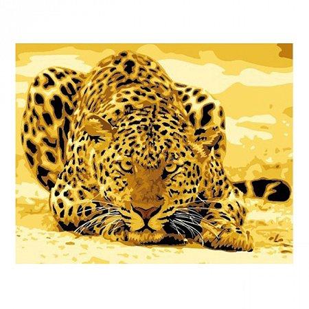 Леопард, серия Животные и птицы, рисование по номерам, 40 х 50 см, Идейка, Леопард притаился (KH305)