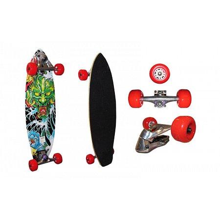 Лонгборд Круизер (скейтборд в сборе) с амортизатором LY-74 (колесо-PU, р-р деки 74х22см, АВЕС-5)