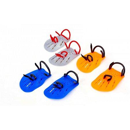Лопатки для плавания гребные PL-6392-M (пластик, резина, р-р M-18x12см, синий, оранжевый, серый)
