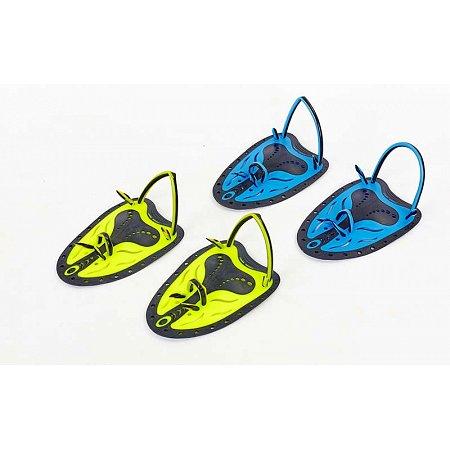 Лопатки для плавания гребные TP-200-M (пластик, резина, р-р M-18x12см, желтый, синий, салатовый)