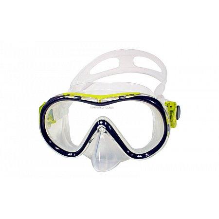 Маска для плавания 281 DORFIN PL-281TSS (термостекло, силикон, пластик, желтый, синый, красный)