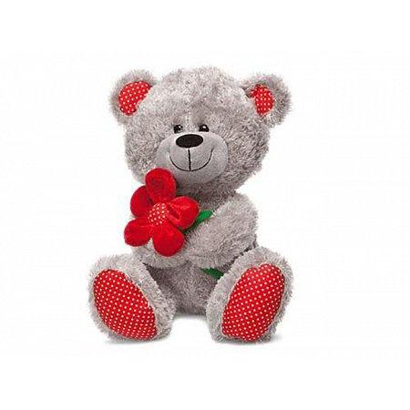 Медведь с красным цветком - мягкая игрушка (музыкальная, 22 см), Lava, LF1096