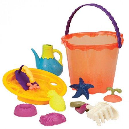 Мега-ведерце Папайя (10 предметов), набор для игры с песком и водой, Battat, BX1445Z