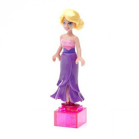Мини-фигурка Модница, Fashion Barbie, Mega Bloks, фиолетовое платье, пояс сердечко, CNF71-3