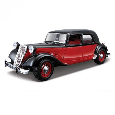Модель автомобиля Citroen 15 CV TA (1938), красно-черный, 1:24, Bburago, черно-красный (18-22017-1)