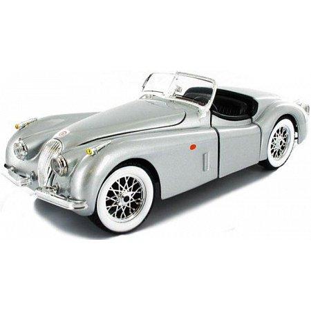 Модель автомобиля Jaguar XK 120 (1951), вишнневый, серебристый, 1:24, Bburago, серый (18-22018-2)
