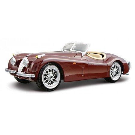 Модель автомобиля Jaguar XK 120 (1951), вишнневый, серебристый, 1:24, Bburago, вишневый (18-22018-1)