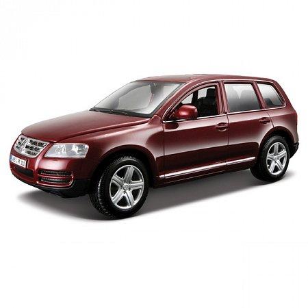 Модель автомобиля Volkswagen Touareg, красный металлик, синий металлик, 1:24, Bburago, вишневый (18-22015-2)