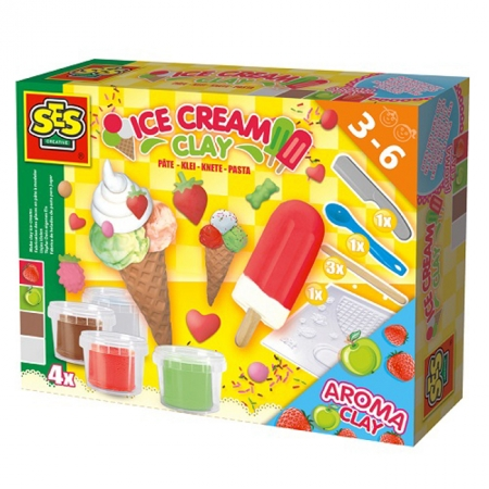 Мороженое - незасыхающая масса для лепки (4 цвета в баночках, аксессуары), SES, 0444S