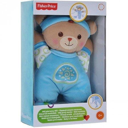Моя первая плюшевая игрушка, мишка в голубом костюме, погремушка, Fisher-Price, мишка в голубом комбинезоне, N0662-2