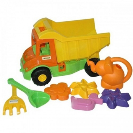 Multi truck грузовик с набором для песка с лейкой 8 эл, Wader, 39206