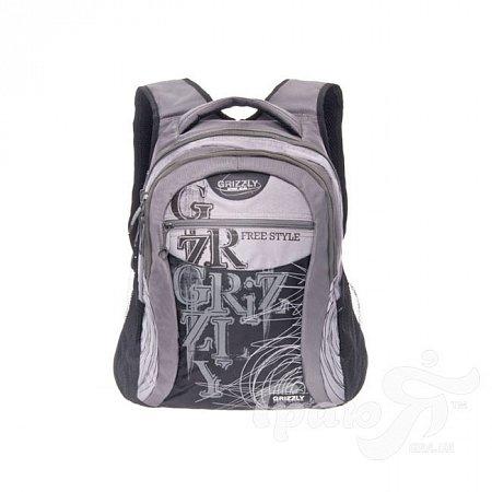 Мужской рюкзак с карманом для ноутбука GRIZZLY (ГРИЗЛИ) GRU-320-2-grey-black