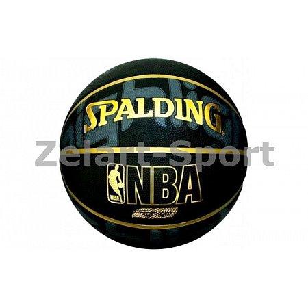 Мяч баскетбольный Composite Leather №7 SPALDING 74634Z NBA HIGHLIGHT GOLD Indoor/Outdoor (черный)
