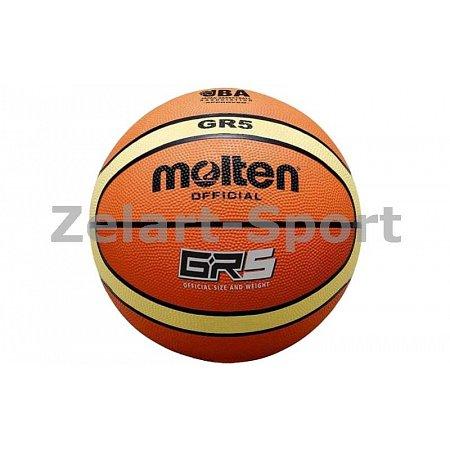 Мяч баскетбольный резиновый №5 MOLTEN BGR5 (резина, бутил, оранжево-желтый)