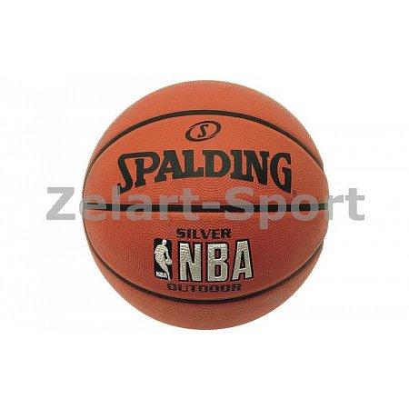Мяч баскетбольный резиновый №5 SPALDING 83014Z 2014 NBA SILVER Outdoor (резина, бутил, оранжевый)