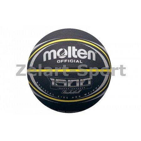 Мяч баскетбольный резиновый №7 MOLTEN B7RD-1500BKSL (резина, бутил, черный)