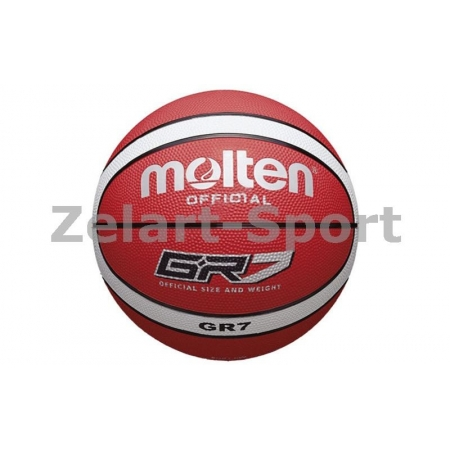 Мяч баскетбольный резиновый №7 MOLTEN BGR7-RW-HD (резина, бутил, красно-белый)