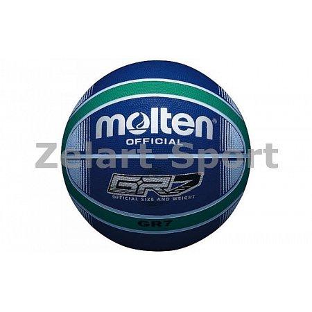 Мяч баскетбольный резиновый №7 MOLTEN BGRX7-BG (резина, бутил, сине-зеленый)