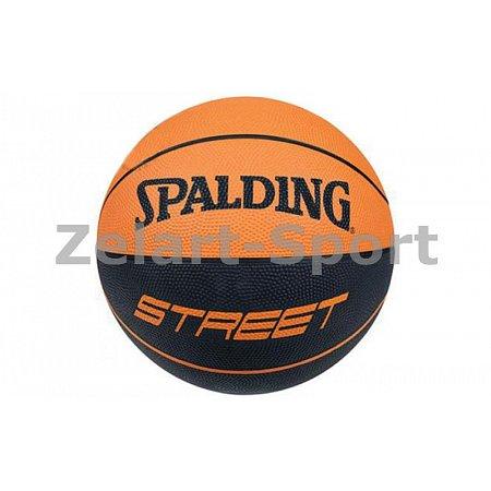 Мяч баскетбольный резиновый №7 SPALDING 73840Z STREET SOFT (резина, бутил, черно-оранжевый)