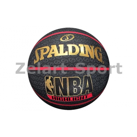 Мяч баскетбольный резиновый №7 SPALDING 73904Z HIGHLIGHT RED Outdoor (резина, бутил, черно-красный)