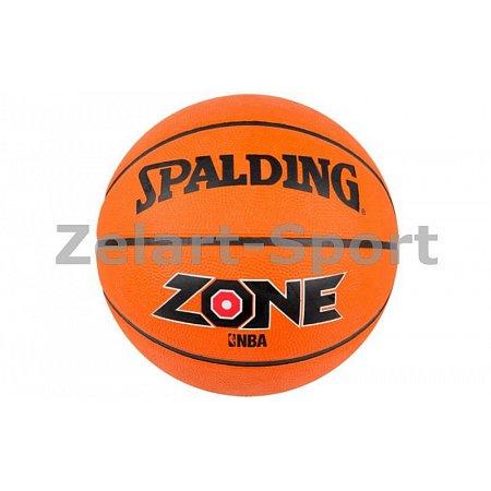 Мяч баскетбольный резиновый №7 SPALDING 73923Z ZONE BRICK (резина, бутил, оранжевый)