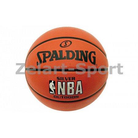 Мяч баскетбольный резиновый №7 SPALDING 83016Z NBA SILVER Outdoor (резина, бутил, оранжевый)