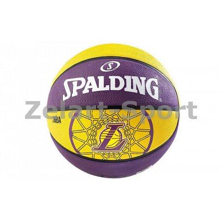 Мяч баскетбольный резиновый №7 SPALDING 83156Z NBA TEAM LAKERS (резина, бутил, желтый-сиреневый)