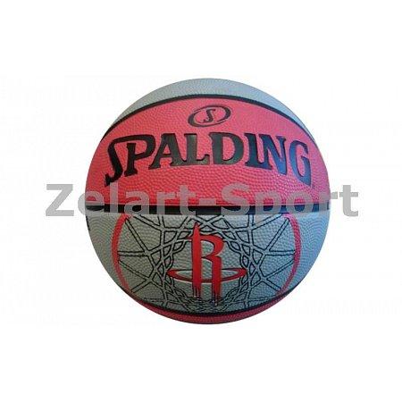 Мяч баскетбольный резиновый №7 SPALDING 83171Z NBA TEAM ROCKET (резина, бутил, красный-серый)