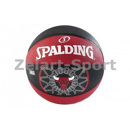 Мяч баскетбольный резиновый №7 SPALDING 83173Z NBA TEAM BULL (резина, бутил, красный-черный)