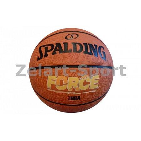 Мяч баскетбольный резиновый №7 SPALDING 83179Z FORCE BRICK (резина, бутил, оранжевый)