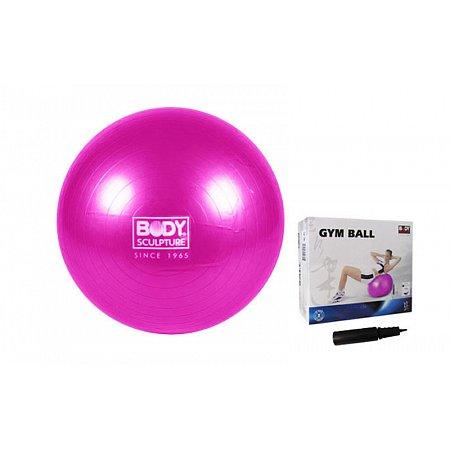 Мяч для фитнеса (фитбол) SOLEX гладкий глянцевый 65см BB-001AR-26 (PVC, +насос, розовый,ABS-система)
