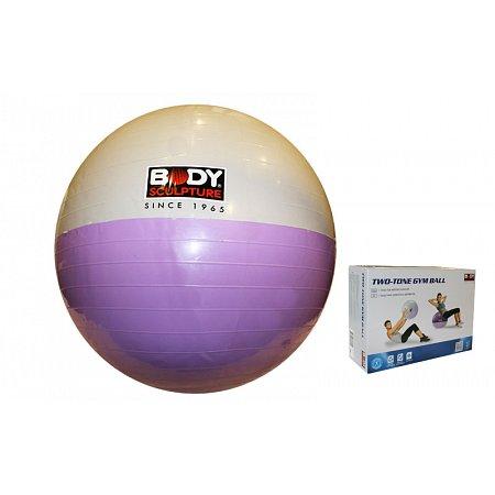 Мяч для фитнеса (фитбол) SOLEX гладкий глянцевый двухцветный 65см BB-001ESP-26 (PVC, ABS-система)