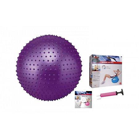 Мяч для фитнеса (фитбол) SOLEX массажный 55см BB-003-22-DN (PVC,1200г,+DVD,+насос, ABS-система)