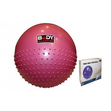 Мяч для фитнеса (фитбол) SOLEX полумассажный 2в1 65см BB-010PK-26-B (PVC, розовый, ABS-система)