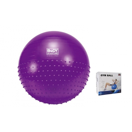 Мяч для фитнеса (фитбол) SOLEX полумассажный 2в1 75см BB-010PP-30-B (PVC, фиолетовый, ABS-система)