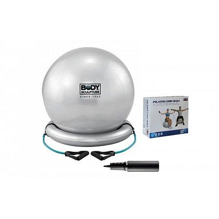 Мяч для пилатеса с эспандерами и надувной базой SOLEX глянцевый 65см BB-011 (PVC, серый,ABS-сист)