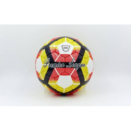 Мяч футбольный №4 DX PREMIER LEAGUE FB-5424-3 белый-оранжевый-красный (5 сл., сшит вручную)