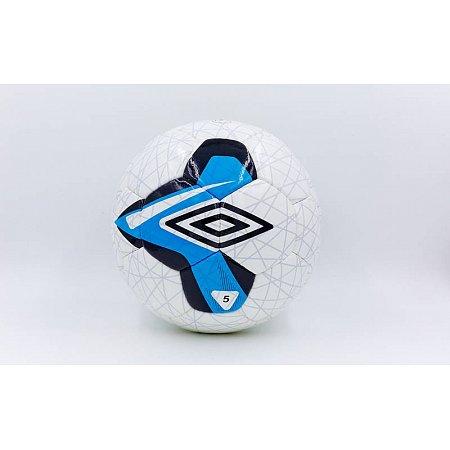 Мяч футбольный №5 DX Umbro FB-6209-1 (№5, 5 сл., сшит вручную, белый-синий)