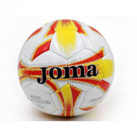 Мяч футбольный №5 PU ламин. JOMA J-1-OR белый-красный-желтый (№5, 5 сл., сшит вручную)