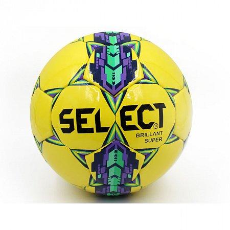Мяч футбольный №5 PU ламин. ST BRILLANT SUPER ST-7-1 желтый-фиолетовый-зеленый (№5, 5 сл., сшит вручную)