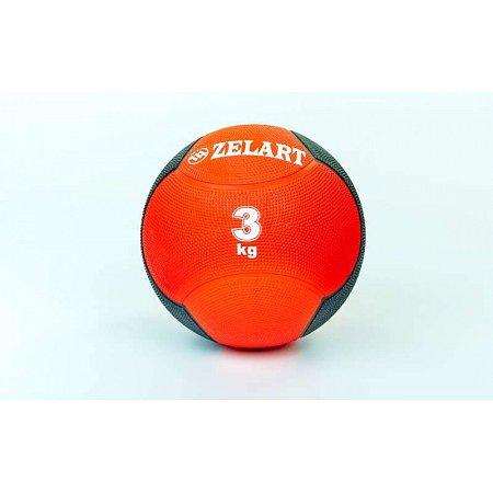 Мяч медицинский (медбол) FI-5121-3 3кг (резина, d-21,5см, красный-черный)
