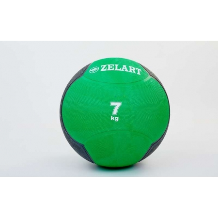 Мяч медицинский (медбол) FI-5121-7 7кг (резина, d-28,5см, зеленый-черный)