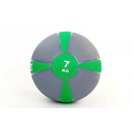 Мяч медицинский (медбол) FI-5122-7 7кг (резина, d-28,5см, серый-зеленый)
