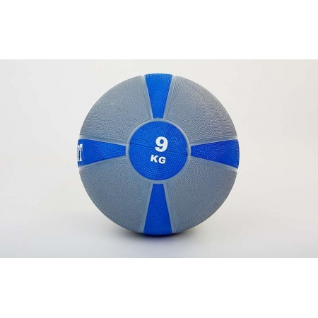 Мяч медицинский (медбол) FI-5122-9 9кг (резина, d-28,5см, серый-синий)