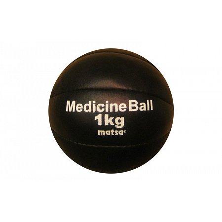 Мяч медицинский (медбол) MATSA ME-0241-1 1кг (верх-кожа, наполнитель-песок, d-14см, черный)