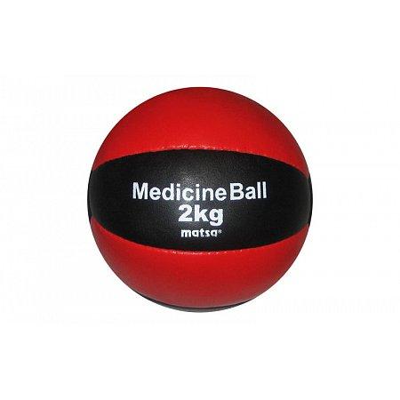 Мяч медицинский (медбол) MATSA ME-0241-2 2кг (верх-кожа, наполнитель-песок, d-16см, красный-черный)